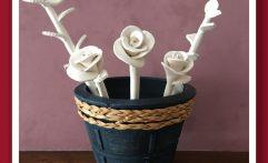 Flores Arcilla Blanca para Decorar